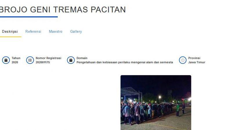 Brojo Geni Tremas Pacitan, WBTB Indonesia 2020  Nomor Registrasi 202001175
