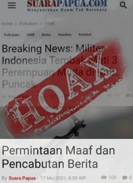 Suarapapua.com  Minta Maaf dan Cabut Berita; Pdt. Lebase Bantah Berita Penembakan Tiga Wanita Papua