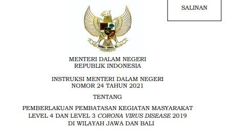 Inmendagri Nomor 24 Tahun 2021,  Ketentuan PPKM Level 4 dan 3 di Jawa Bali