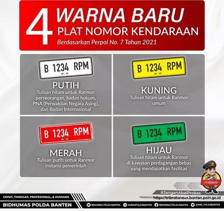 Kabid Humas Polda Banten : Yuk Kenali 4 Warna Baru Pada Plat Nomor Kendaraan