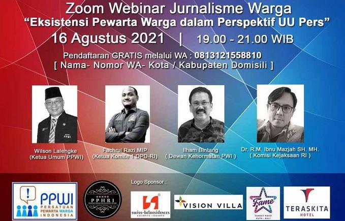 "Webinar Jurnalisme Warga dengan tema ""Pewarta Warga dalam Perspektif UU Pers"
