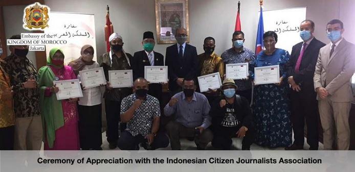 """Certificate of Appreciation"""" dari Kerajaan Maroko melalui Dubes Maroko untuk Indonesia"""
